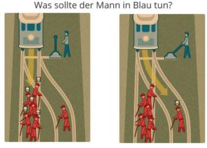 Trolley Porlbem: Gleis mit mehreren Arbeitern und Gleis mit einem Arbeiter. Mann an der Weiche muss entscheiden auf welches Gleis er die Bahn schickt. Credits: Moral Machine Website